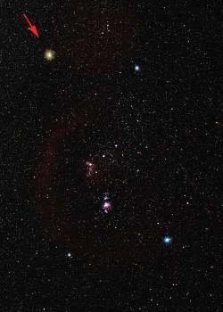 Stjernebildet Orion med stjernen Betelgeuse (pil) [Foto: Digital Sky LLC]