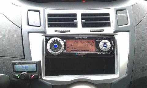 Endelig er saligheta på plass. DAB-radio og blåtann.