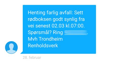 SMS fra TRV